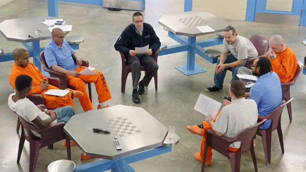 Group counseling sessions on the veteran pod at the Albany County jail often tackle issues of post-traumatic stress and addiction